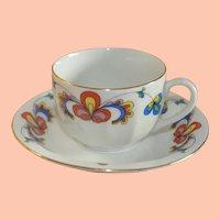 Vintage Norwegian Porcelain Porsgrund Demitasse Cup & Saucer, Farmers Rose/Bondemønster