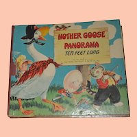 Unusual Vintage Mother Goose Panorama Book, Folds Out to 10 Feet