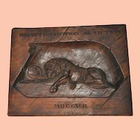 Antique Swiss Lion of Lucerne Carved Wooden Plaque
