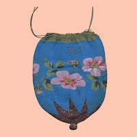 Antique Beaded Evening Bag, Pink Flowers and Drawstring