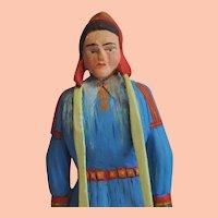 Vintage Norwegian Hand Carved Young Girl in Sami Costume from Finnmark Folk Art
