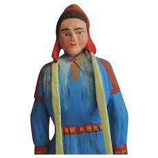 Vintage Norwegian Hand Carved Young Girl in Sami Costume from Finnmark Folk Art