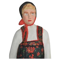 Vintage Norwegian Hand Carved Young Girl in Traditional Costume from Hallingdal Folk Art