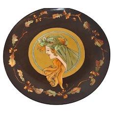 Antique D&C Limoges France Plate, Woman's Art Nouveau Face
