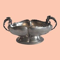Vintage Italian Pewter Lavorazione Centerpiece Bowl with Dragon Handles
