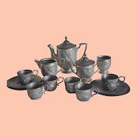 Vintage Child's Size 16-Piece Britannia Pewter Tea Set