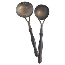 Vintage British Pewter Kitchen Cooking Draining Spoon and Ladle