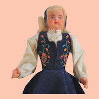 Vintage Norwegian Doll with Bunad Traditional Costume