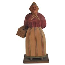 Vintage Scandinavian Hand-Carved Folk Art, Old Woman with Basket