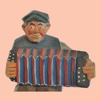 Vintage Swedish Hand-Carved Folk Art Accordion Player, probably Gunnarsson