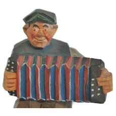 Vintage Swedish Hand-Carved Folk Art Accordion Player, probably Gunnarsson