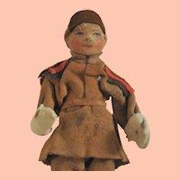Vintage Norwegian Doll, Leather Head, Boy in Felt Lapland Costume