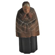 Vintage Swiss Old Woman with Fringed Shawl, Huggler Wyss, Hand-Carved Folk Art