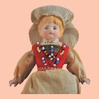 Vintage Early 1900s Norwegian China Doll in Hardanger Costume