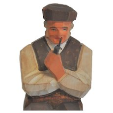Vintage Swiss Man with Pipe, Huggler Wyss, Wood Hand-Carved Folk Art