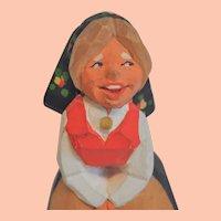 "Vintage Henning Norwegian Hand Carved Young Girl ""Kari"""