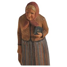 Vintage Swiss Old Woman with Bible, Huggler Wyss, Wood Hand-Carved Folk Art