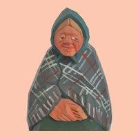 Vintage Swedish Hand-Carved Folk Art, Little Old Woman