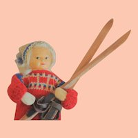 Vintage Ronnaug Petterssen Cloth Doll with Cross-Country Skis