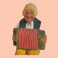 Accordion Player, Vintage Gunnarsson Swedish Hand-Carved Wooden Folk Art