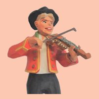 Vintage Norwegian Henning Hand-Carved Fiddler Folk Art