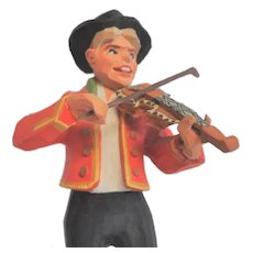 Vintage Norwegian Henning Hand-Carved Fiddler Folk Art