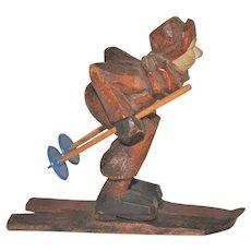 Vintage Hand-Carved Scandinavian Folk Art Cross-Country Skier