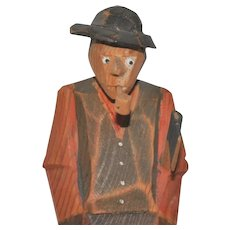 Vintage Norwegian Wooden Folk Art Carving of Man with Ax