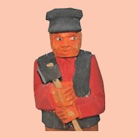 Vintage Swedish Wooden Hand-Carved Man Splitting Wood