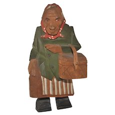 Vintage Swedish Carved Wooden Woman Figure with Basket, Trygg or Larsson Style