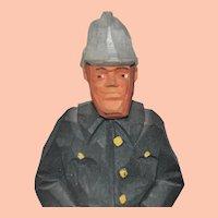 Vintage Gunnarsson Fireman Figure Swedish Hand Carved Wooden Folk Art