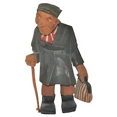 Vintage Swedish Carved Wooden Man Figure with Cane and Bag, Trygg or Larsson Style