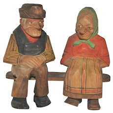 Vintage Lorens Larsson Old Man and Woman on Bench Swedish Hand Carved Wooden Folk Art