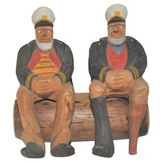 Vintage Hand-Carved Sea Captains David Churchill 1970s Folk Art