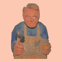 Vintage Swedish Hand-Carved Shoemaker Cobbler Folk Art