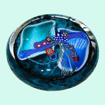 Stunning and Rare, Signed Wes Hunting Art Glass Optical Millefiori Paperweight Disk