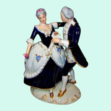 Lovely Vintage Bohemia Royal Dux ROCOCO Couple Dancing, Hand-painted & numbered 141