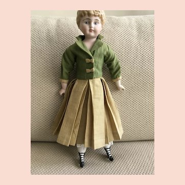 """Green Jacket and Skirt for 13"""" China Doll"""