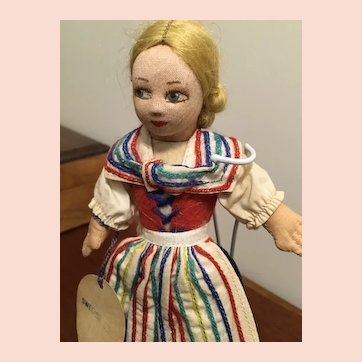 """Norah Wellings """"Swedish Girl"""" Doll with Hand Tag & Label! England."""