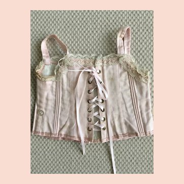 Jumeau old  pink satin corset size 9