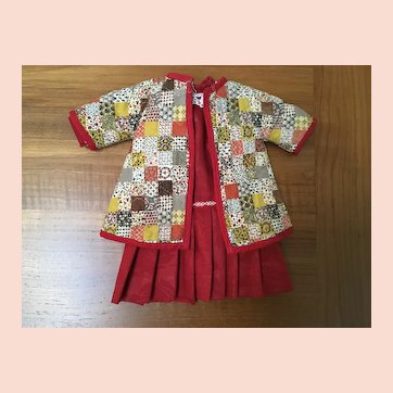"""Quilted jacket and dress for approximately 14"""" doll"""