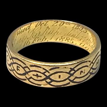 18ct Mourning Ring Circa 1868