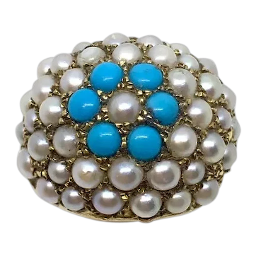 Circa 1960 18ct Seed Pearl Turquoise Bombe Ring