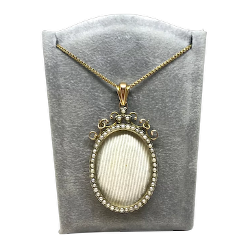 9ct Seed Pearl Locket with Gold Plated Chain