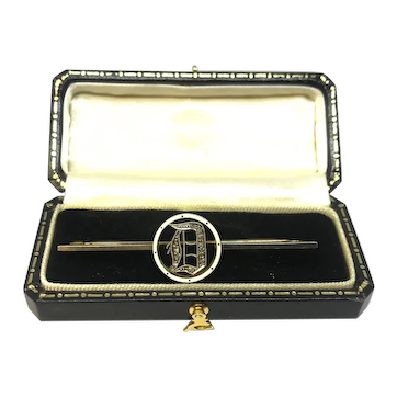 "Vintage Circa 1920 Tests 15ct Gold Initial ""D"" Enamel Diamond"