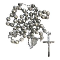 Italy Catholic Rosary Burnished Sterling Silver Beads Gun Metal Mourning Jewelry