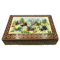 Hand Made Painted Box Signed Persian Theme Hunting Scene Estate