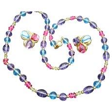Trifari Lucite Beaded Necklace Earrings Set Aqua Pink Lavendar Pierced Earrings Ca. 1980s