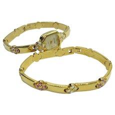 Watch Bracelet Set Vintage Joan Rivers Gold Tone Multi-Color Crystals Quartz Movement