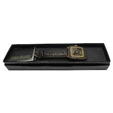 Joan Rivers Wrist Watch NOS Faux Croc Leather Band Crystal Face Original Box